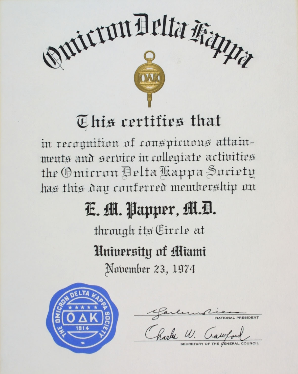 Emanuel m papper md phd honors awards 1974 yelopaper Image collections